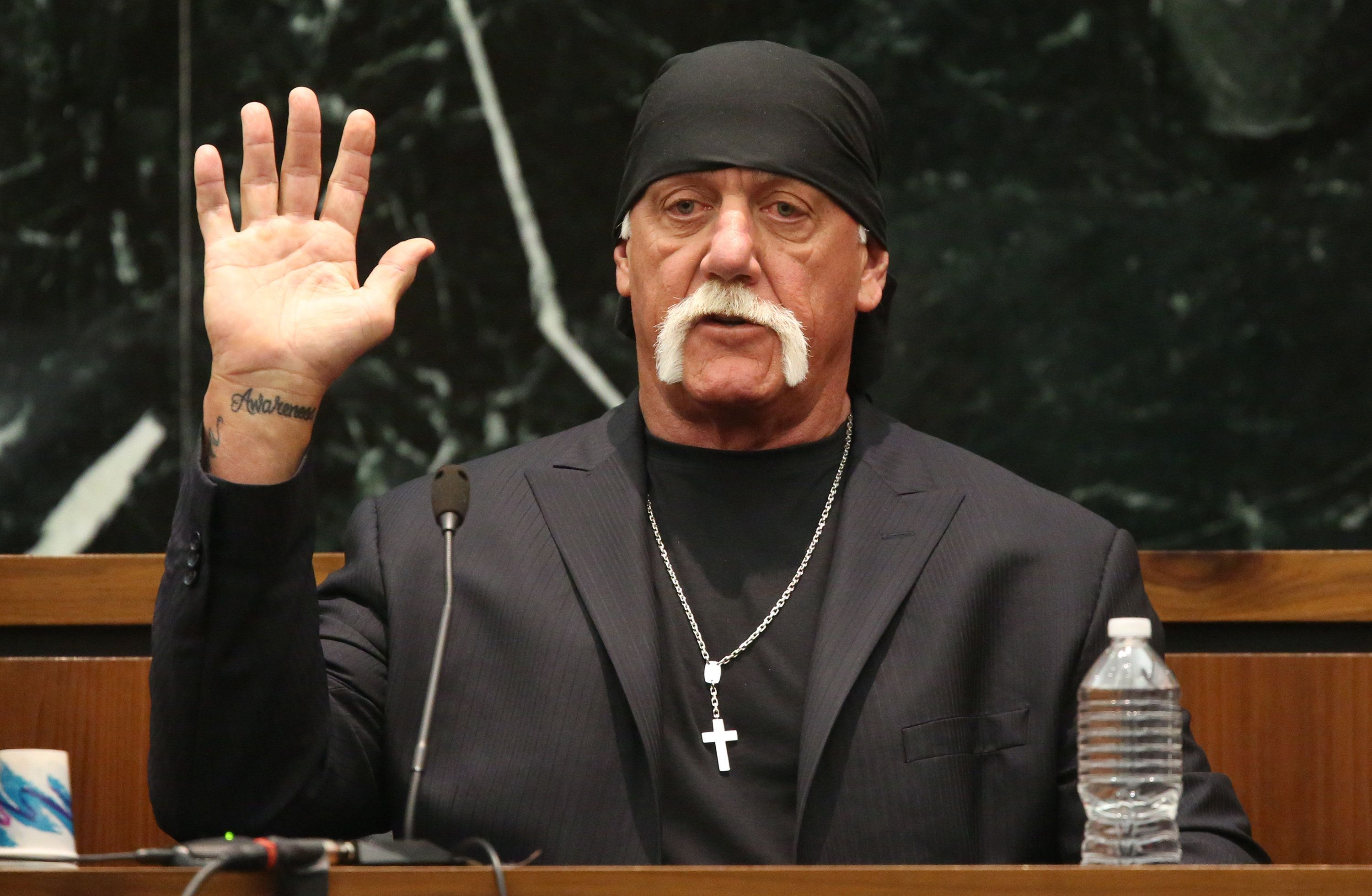 "Terry Bollea, aka Hulk Hogan, takes the oath in court during his trial against Gawker Media, in St Petersburg, Florida March 8, 2016. Hogan testified on Tuesday he no longer was ""the same person I was before"" following personal setbacks and the humiliation suffered when the online news outlet Gawker posted a video of him having sex with a friend's wife.   REUTERS/Tampa Bay Times/John Pendygraft/Pool  MANDATORY NYPOST OUT"