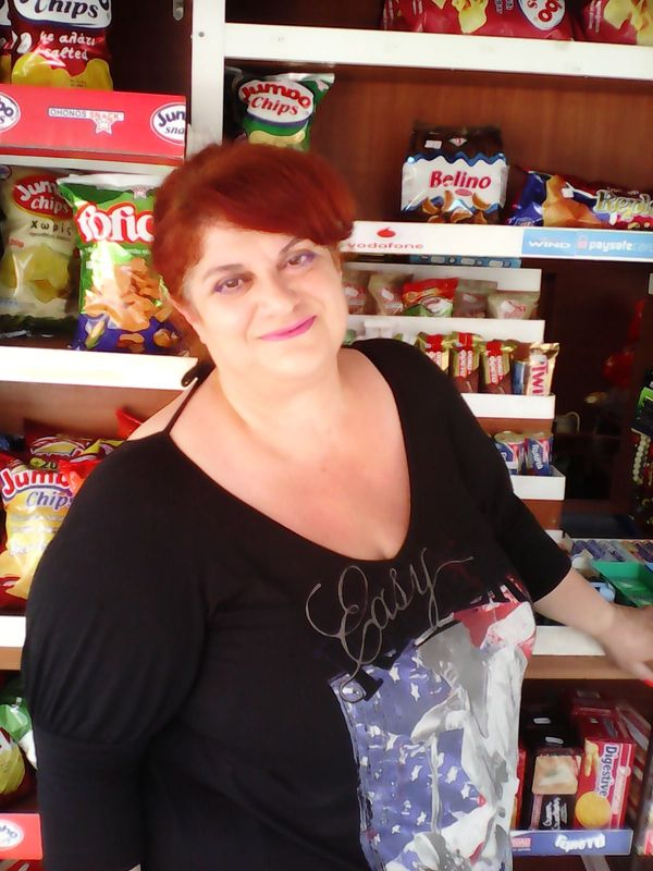 <strong>Marina Kalafati, 52, owner of a s</strong><strong>mall street kiosk selling newspapers, cigarettes and snacks (Athens