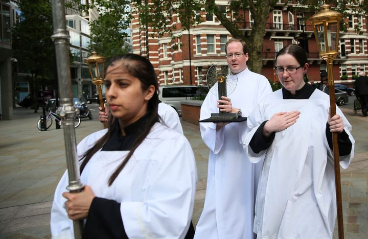 A procession brings the Hungarian relic of St Thomas a Becket to a ceremony at Westminster Cathedral in London, Britain May 2