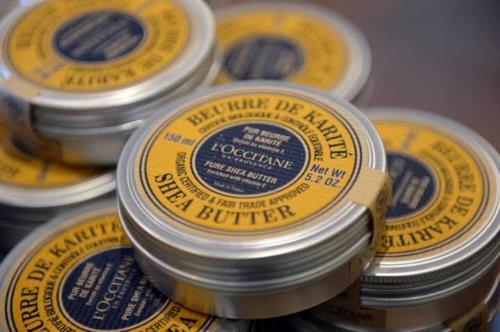Organic and fair trade shea butter tins at French cosmetics company L'Occitane production site in Manosque, southeastern Fran