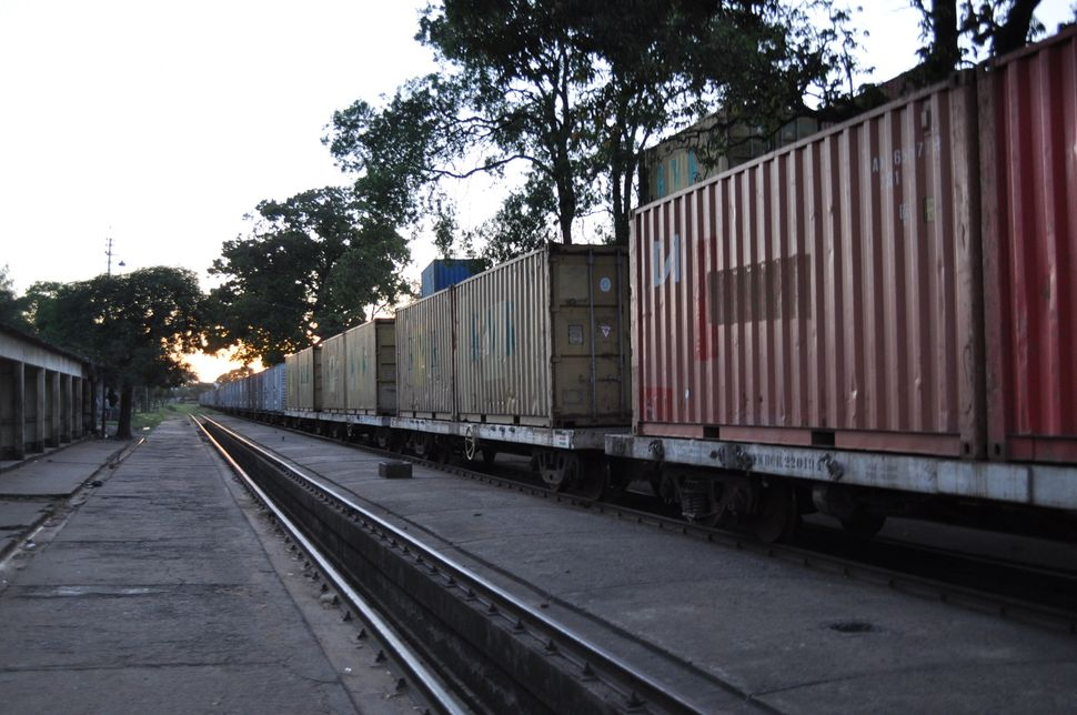 """A""""Lunatic Express"""" cargo train along the old route at Mombasa Station."""