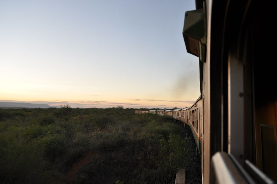 A train goes through Tsavo East National Park in