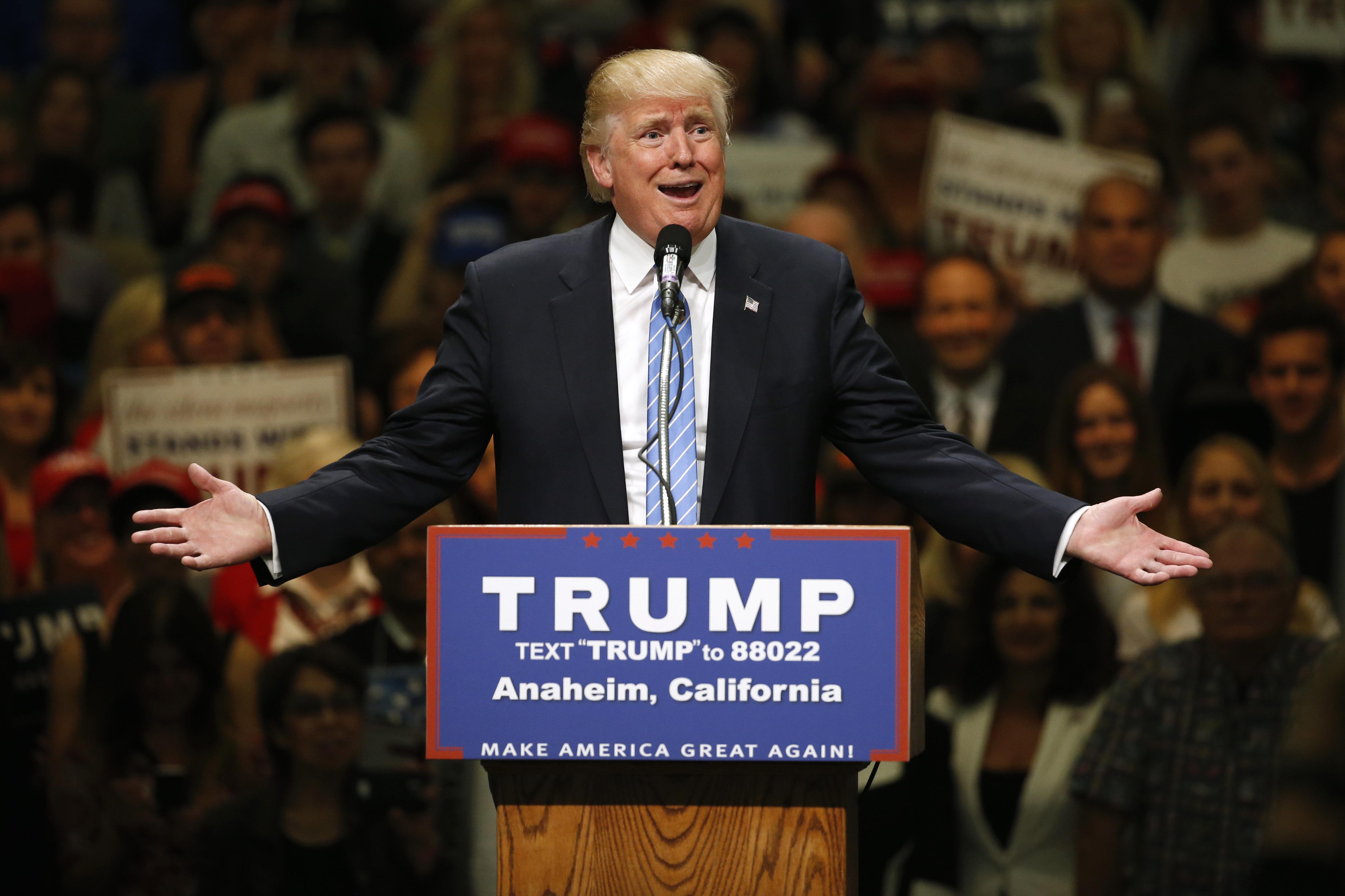 At a campaign event today in Anaheim, California, presumptiveRepublican presidential nominee Donald Trump bragged again