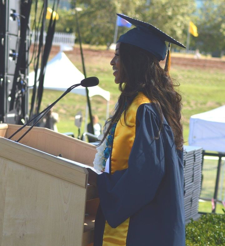 Domonique Jones delivering the student commencement speech for the 2016 graduates of the Social Sciences Humanities and Arts