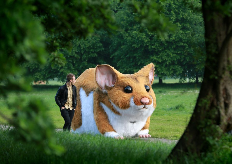 Giant hamster spotted scurrying around a London park in Kwik Fit PR stunt