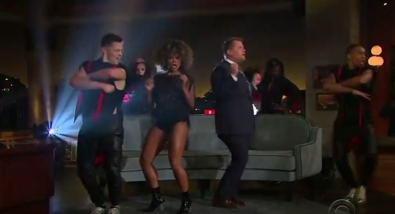 James Corden joined Fleur East on stage on 'The Late Late