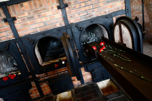 Ovens of the crematorium are seen in the former Nazi concentration camp