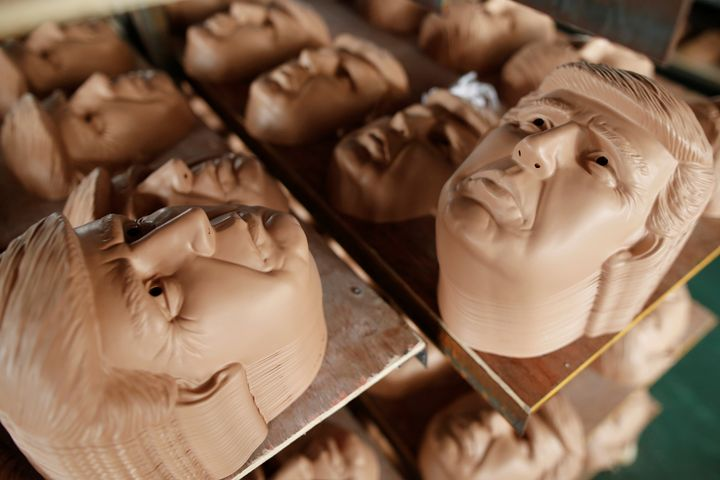 The Jinhua Partytime Latex Art and Crafts Factory is churning out masks of presidential candidates Hillary Clinton and D