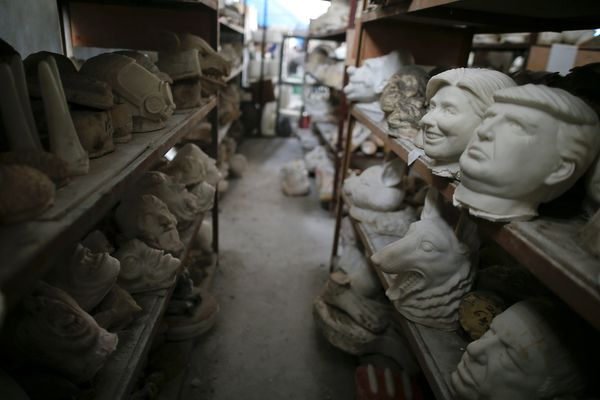Molds for different masks are seen in the factory.