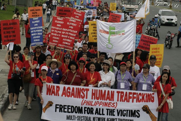 Cecilia leading a march against human trafficking.