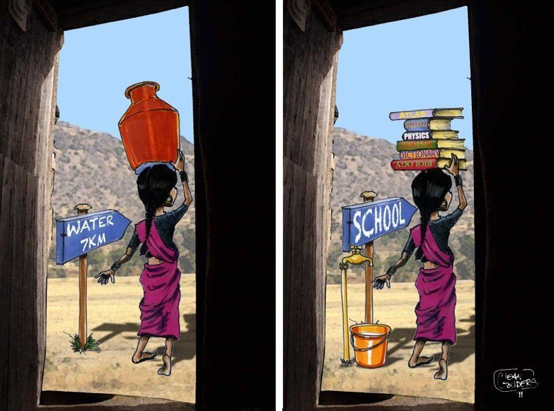 Jean Gouders illustrates a world where girls have the opportunity to carry books to school instead of spending their days hau