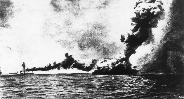 Explosion on 'HMS Queen Mary' during the