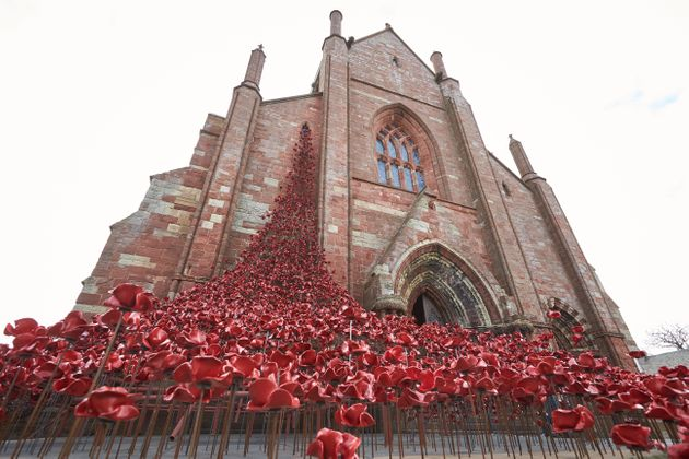 Poppy installation at St Magnus Cathedral to mark the Battle of Jutland