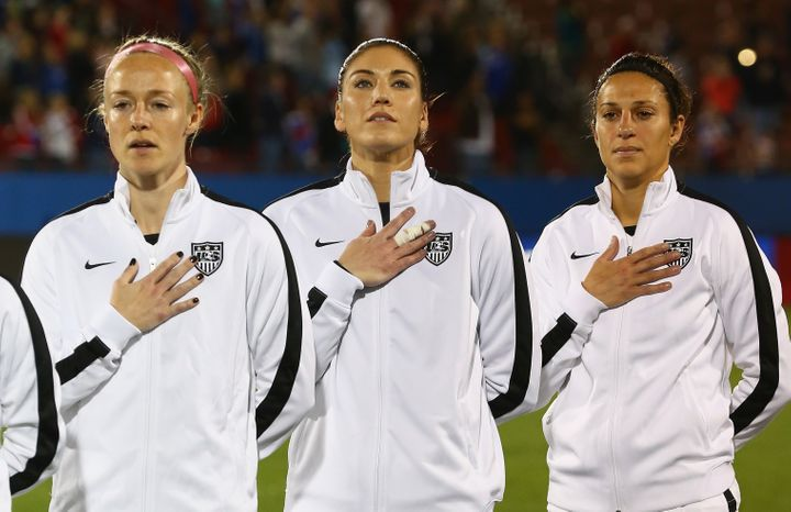 U.S. soccer stars Becky Sauerbrunn, Hope Solo and Carli Lloyd at a match against Costa Rica on Feb. 10, 2016. Women