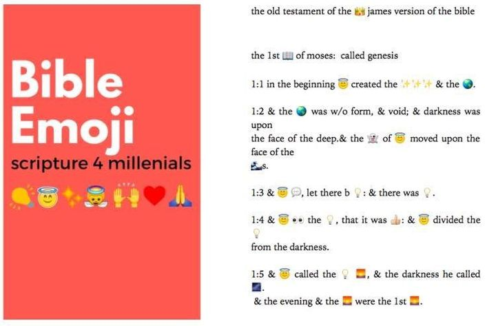 These are the first few lines of the Bible, Emojified.
