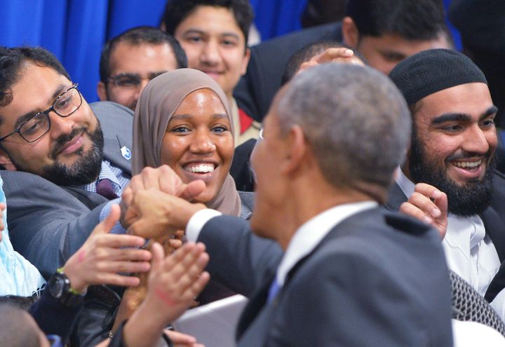 "President Obama spoke at the Islamic Society of Baltimore in February, pledging ""to lift up the multiplicity of Muslim v"