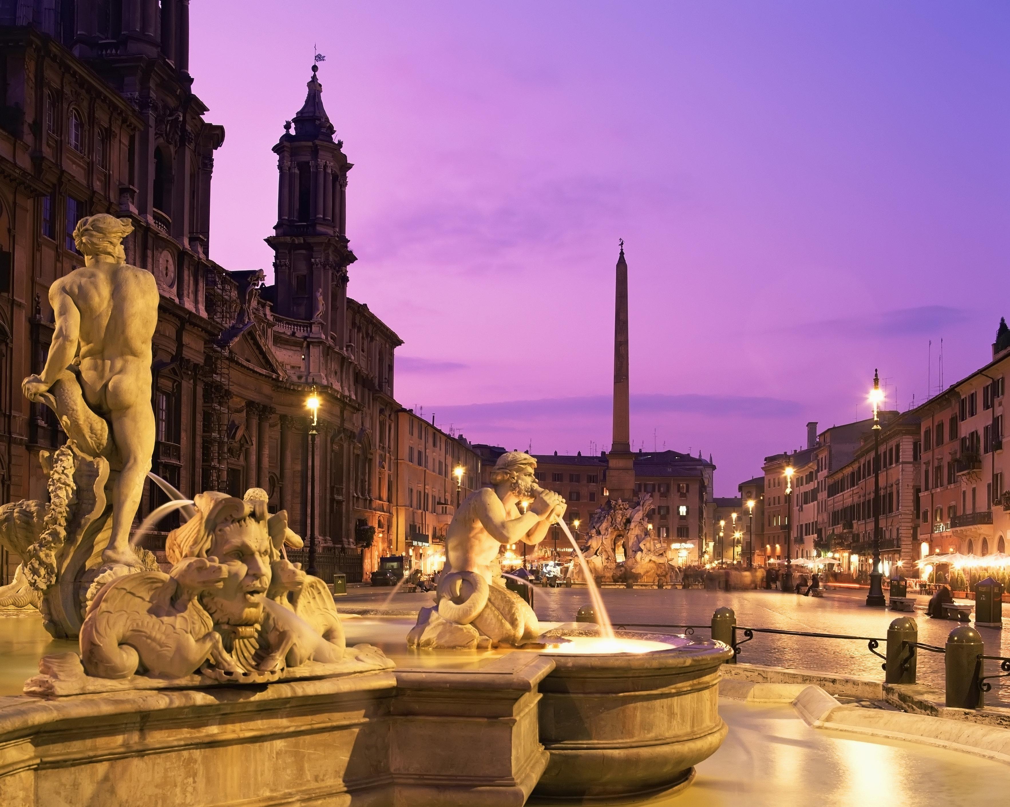 Time lapse view of ornate fountains under evening sky, Paris, Ile-de-France, France