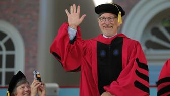Filmmaker Steven Spielberg acknowledges the crowd as he receives an honorary Doctor of Arts degree during the 365th Commencement Exercises at Harvard University in Cambridge, Massachusetts, U.S. May 26, 2016.  REUTERS/Brian Snyder