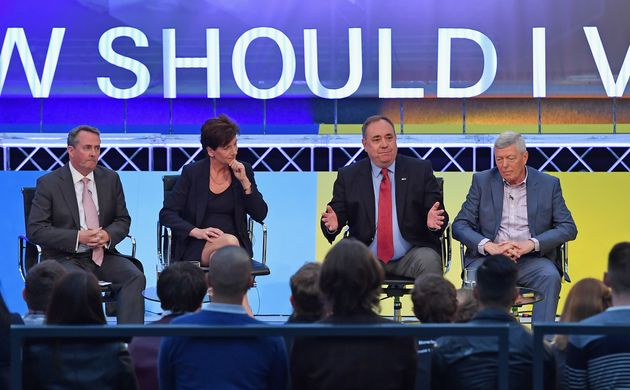 Liam Fox, Diane James, Alex Salmond and Alan Johnson(L-R) at the #BBCDebate in