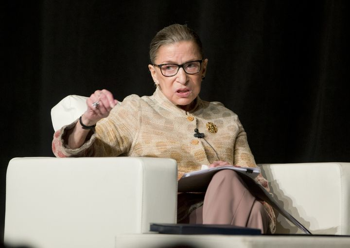 Justice Ruth Bader Ginsburg takes part in a discussion at the U.S. Court of Appeals Second Circuit Judicial Conference on Thu