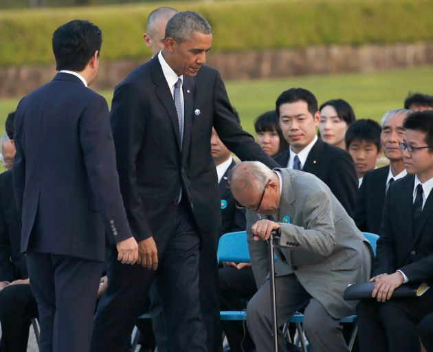 Shigeaki Mori, right, pushed for the names of American POWs killed in the Hiroshima attack to be added...