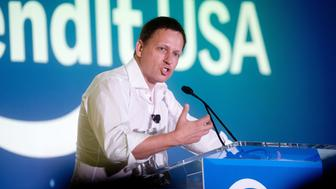 Peter Thiel, head of Clarium Capital Management LLC and founding investor in PayPal Inc. and Facebook Inc., speaks during the LendIt USA 2016 conference in San Francisco, California, U.S., on Tuesday, April 12, 2016. Thiel discussed his outlook for the tech industry. Photographer: Noah Berger/Bloomberg via Getty Images