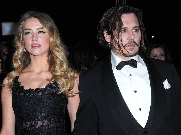 Amber Heard and Johnny Depp arrive at the 27th Annual Palm Springs International Film Festival on Jan. 02, 2016 in Palm Sprin