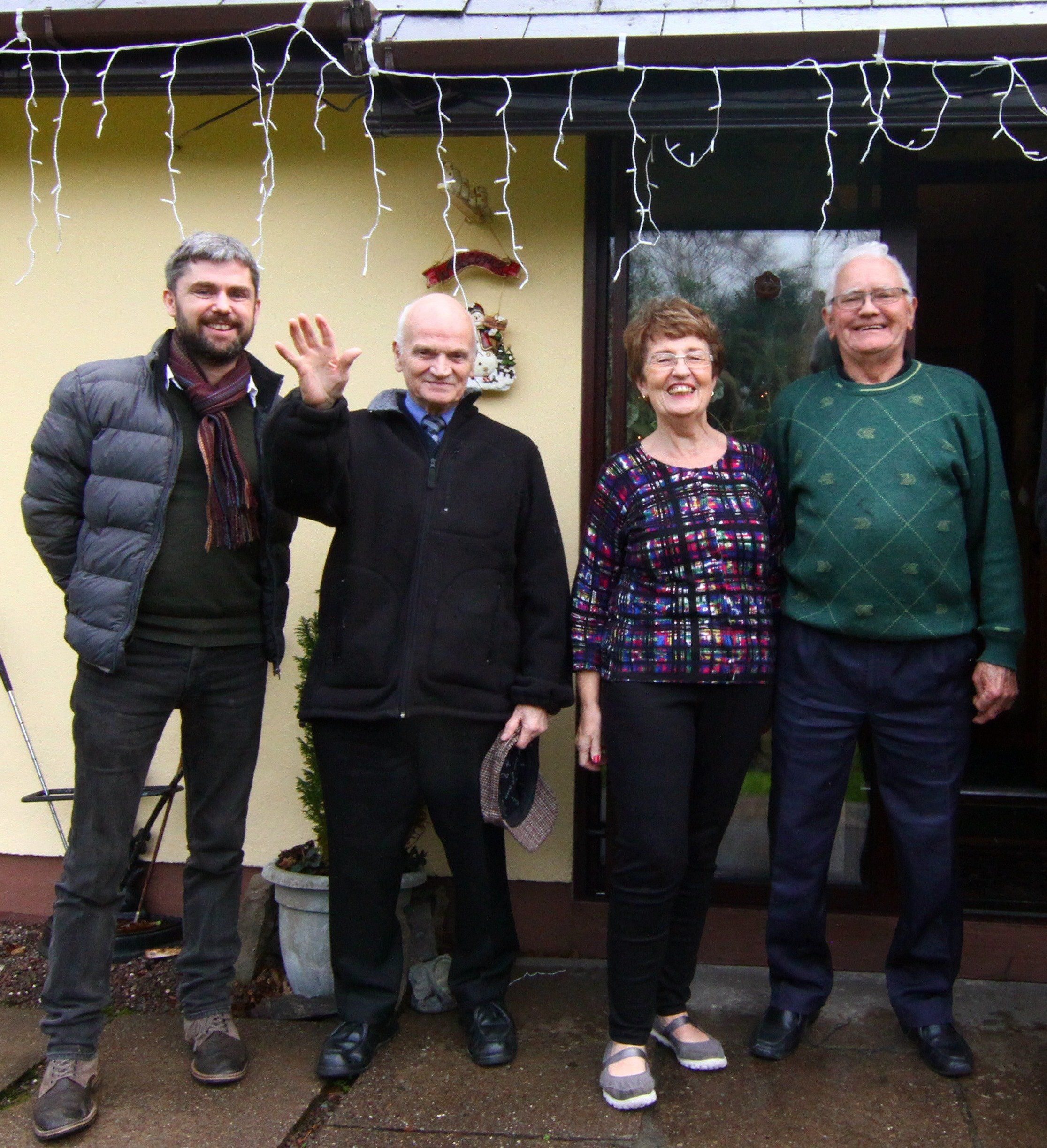 Mangan, left, with some of the participants of the pilot project.
