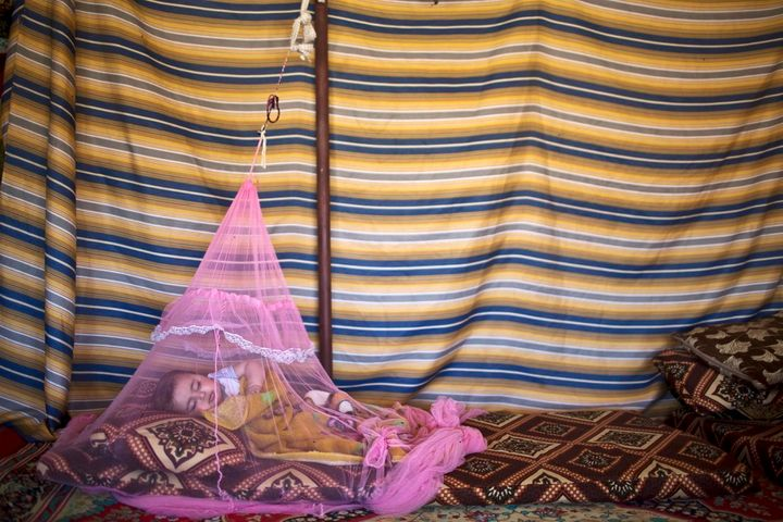 Seven-month-old Syrian refugee Mariam Mohammed, whose family fled from Hama, Syria, sleeps under a mosquito net inside their