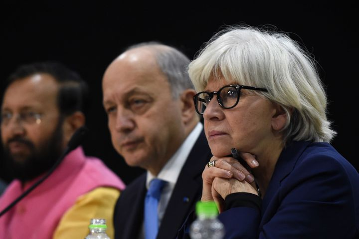 "French climate ambassador Laurence Tubiana, right, told reporters that governments feel ""quite calm"" about the fate of t"