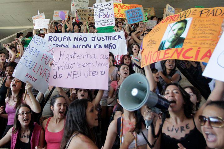 "In this file photo, women take part in the ""Marcha das Vagabundas"" (Slutwalk) protest in Brasilia June 18, 2011. A video depi"