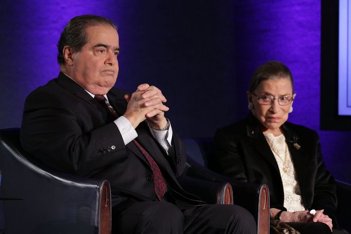 """Supreme Court Justices Antonin Scalia (L) and Ruth Bader Ginsburg (R) wait for the beginning of the taping of """"The Kalb Repor"""
