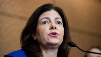 UNITED STATES - APRIL 26: Sen. Kelly Ayotte (R-NH) participates in the news conference with survivors of sexual assault to urge the Senate to pass the Campus Accountability and Safety Act on Tuesday, April 26, 2016. (Photo By Bill Clark/CQ Roll Call)