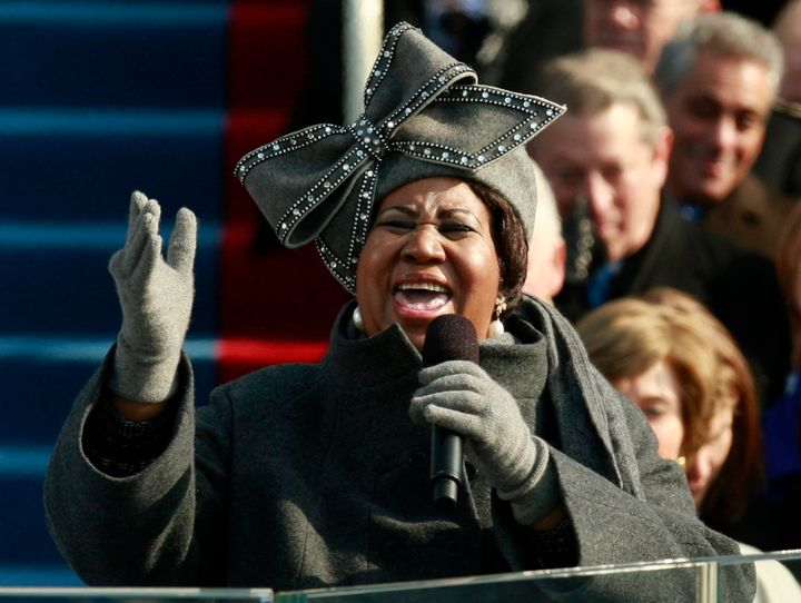 The jeweled hat Franklin wore during President Barack Obama's first inauguration earned its own celebrity status.