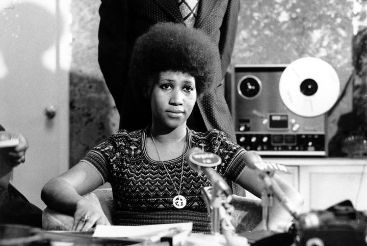 It wasn't until Franklin signed on with Atlantic Records in the late '60s that her career really took off. She's seen here in