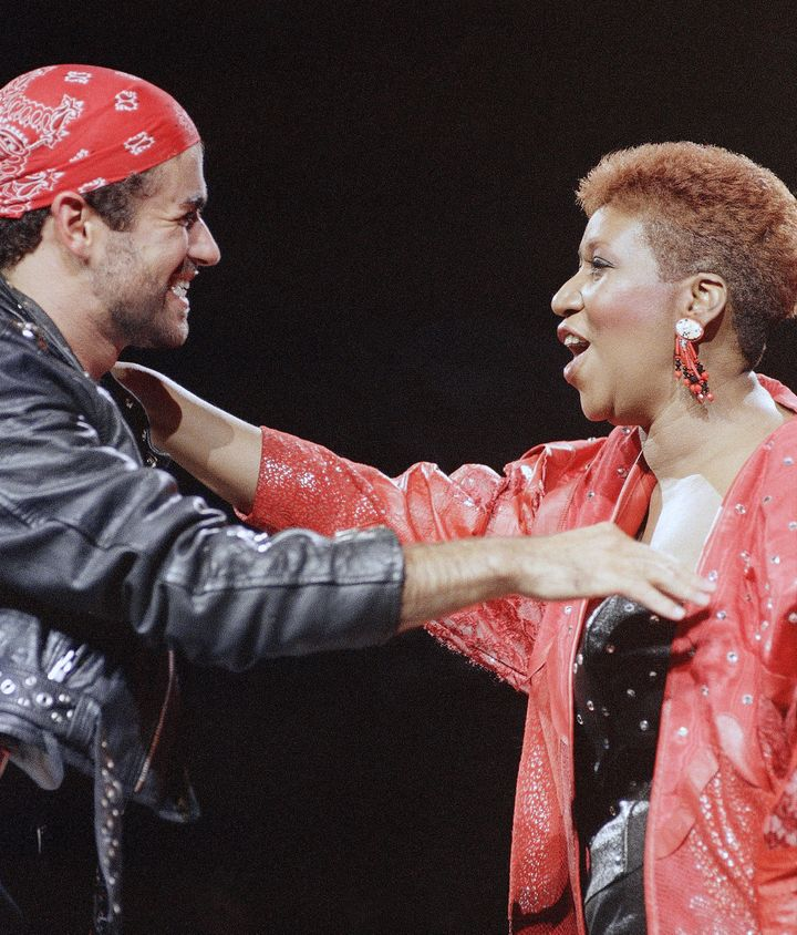 Franklin, who won a Grammy with singer George Michael in 1987, joins the singer onstage in 1988.