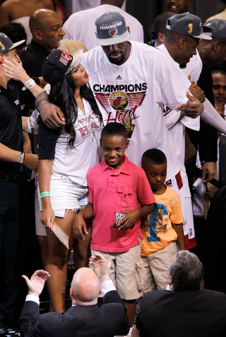 LeBron James Jr. basks in a championship moment after his dad's Miami Heat won the 2012 NBA Finals in Miami.