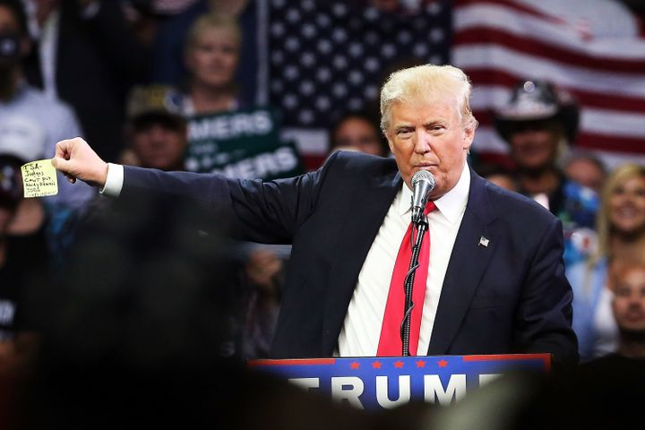 Donald Trump, the presumptive Republican presidential candidate, speaks at a rally in Fresno, California, on Friday.