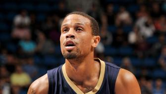 ORLANDO, FL - OCTOBER 21:  Bryce Dejean-Jones #31 of the New Orleans Pelicans shoots a free throw against the Orlando Magic during a preseason game on October 21, 2015 at Amway Center in Orlando, Florida. NOTE TO USER: User expressly acknowledges and agrees that, by downloading and or using this photograph, User is consenting to the terms and conditions of the Getty Images License Agreement. Mandatory Copyright Notice: Copyright 2015 NBAE (Photo by Fernando Medina/NBAE via Getty Images)