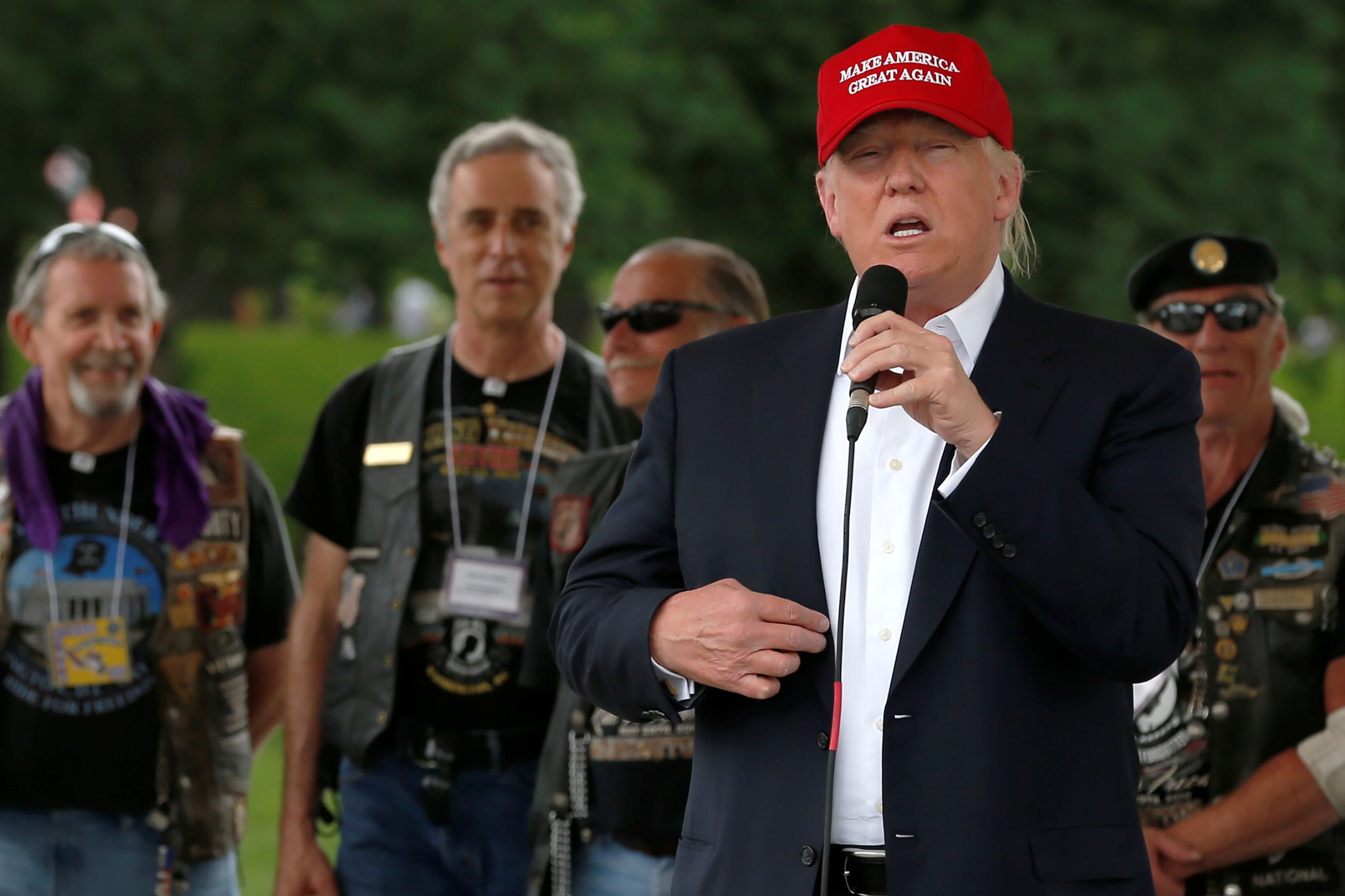 Republican U.S. presidential candidate Donald Trump addresses the Rolling Thunder motorcycle rally to highlight POW-MIA issue