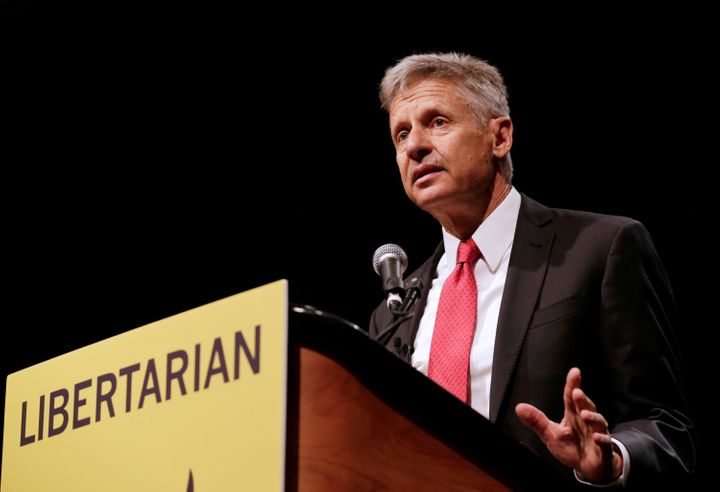 Libertarian Party presidential nominee Gary Johnson gives an acceptance speech during the National Convention in Orlando