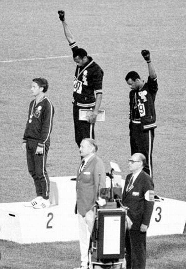 San Jose State University students Tommie Smith and John Carlos performed their Black Power salute at the 1968 Summer Olympics in Mexico City -- one of the most overtly political statements in the 110 year history of the modern Olympic Games.