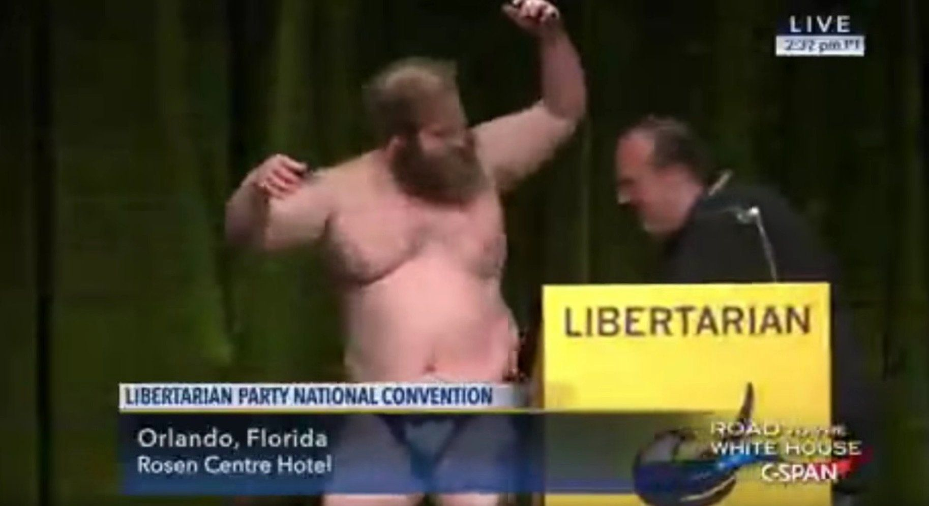 James Weeks strips at Libertarian Convention.