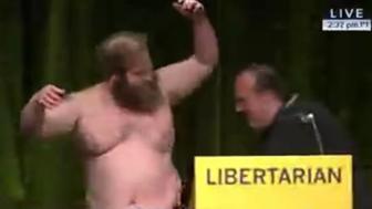 James Weeks strips at Libertarian Convention.