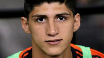 Alan Pulido of Mexico is seen before the start of their international friendly soccer match against Israel at the Azteca stadium in Mexico City May 28, 2014. REUTERS/Henry Romero/File Photo     TPX IMAGES OF THE DAY