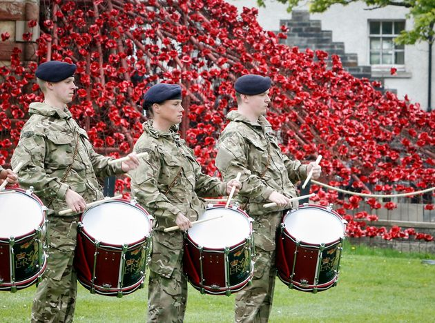 Member of the armed forces rehearse outside St Magnus Cathedral Orkney in Scotland, ahead of a commemoration...
