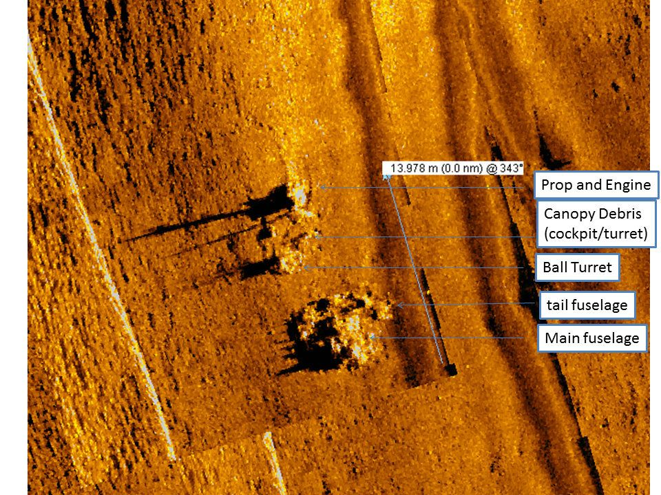 A side scan sonar image of the TBM-1C Avenger torpedo bomber wreck site.