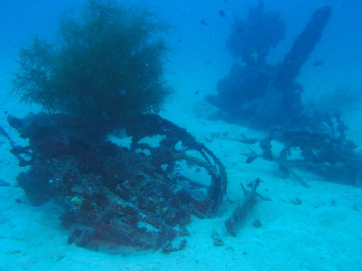 Scattered debris from a U.S. Navy WWII TBM-1C Avenger torpedo bomber has been lying on the floor of the Pacific Ocean si