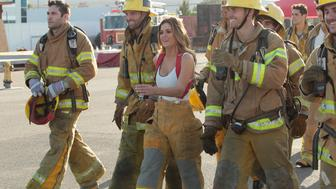 """THE BACHELORETTE - """"Episode 1202"""" - Twenty anxious men look to get their love story with JoJo off to a good start. The the first group date give ten lucky bachelors a chance to see sparks fly when they head for a firefighting training facility, where one of the guys might need saving himself. JoJo and Derek get to pick their own adventure, and they choose a romantic picnic by the Golden Gate Bridge in San Francisco. Six bachelors get a dream date to ESPN's popular """"SportsNation"""" with hosts Max Kellerman and Marcellus Wiley. They are sure they will be able to help JoJo find a perfect match, but Chad seems determined to """"shock and awe"""" all the way up to the rose ceremony, on """"The Bachelorette,"""" MONDAY, MAY 30 (8:00-10:01 p.m. EDT), on the ABC Television Network. (ABC/Rick Rowell)JAMES F., ROBBY, JOJO FLETCHER, LUKE"""