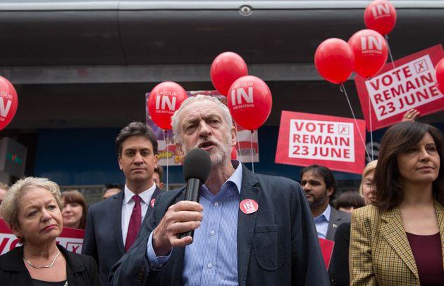 Jeremy Corbyn alongside former leader Ed Miliband at an EU referendum campaign rally last